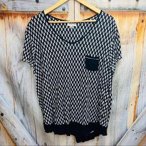 ANNE KLEIN Short Sleeve Patterned Pocket T-Shirt